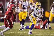 FAYETTEVILLE, AR - NOVEMBER 15:  Terrence Magee #18 of the LSU Tigers runs the ball during a game against the Arkansas Razorbacks at Razorback Stadium on November 15, 2014 in Fayetteville, Arkansas.  The Razorbacks defeated the Tigers 17-0.  (Photo by Wesley Hitt/Getty Images) *** Local Caption *** Terrence Magee