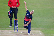 England womens cricket player Katherine Brunt bowls one out of the back of her hand during the ICC Women's World Cup match between England and Pakistan at the Fischer County Ground, Grace Road, Leicester, United Kingdom on 27 June 2017. Photo by Simon Davies.