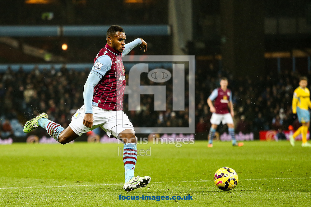 Leandro Bacuna of Aston Villa shoots at goal during the Barclays Premier League match at Villa Park, Birmingham<br /> Picture by Andy Kearns/Focus Images Ltd 0781 864 4264<br /> 01/01/2015
