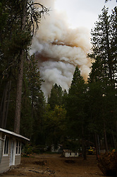 September 12, 2015 - Lake County, California, Smoke and flames reaching the southern boundry of the Hoberg's Resort just prior to mandatory evacutation. (Kim Ringeisen / Polaris)
