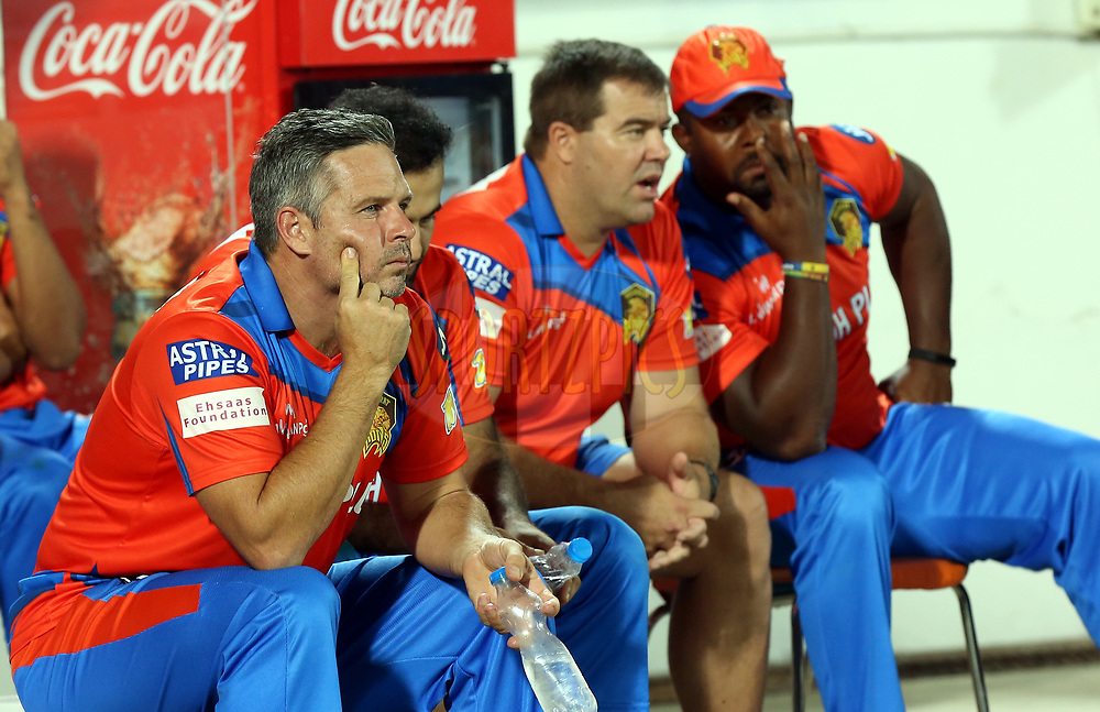 Gujarat Lions coach Brad Hodge during match 35 of the Vivo 2017 Indian Premier League between the Gujarat Lions and the Mumbai Indians  held at the Saurashtra Cricket Association Stadium in Rajkot, India on the 29th April 2017<br /> <br /> Photo by Sandeep Shetty - Sportzpics - IPL