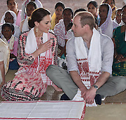 ASSAM (INDIA), April 13, 2016 <br /> <br /> British Prince William (R) and his wife Kate Middleton talk during their visit to the Kaziranga National Park in Assam, northeastern state of India, on April 13, 2016. British Prince William and his wife Kate Middleton on Wednesday got a taste of India's wildlife by visiting the Kaziranga National Park in the northeastern state of Assam, home to two-thirds of the world's Indian one-horned rhinos. <br /> ©Exclusivepix Media