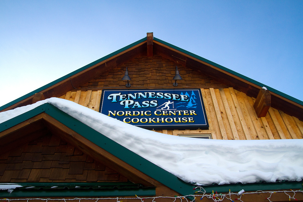 Snowshoe to the Tennessee Pass Cookhouse..Caption:(Friday 01/14/2011 Leadville)In a Yurt at 10,800 feet on a snowy Colorado mountain seems like an odd place to find a gourmet dinner. But with a little determination (and snowshoes) that's exactly what you'll get at the Tennessee Pass Cookhouse. At the Tennessee Pass Nordic Center they'll set you up with telemark skis or snowshoes for your journey to the cookhouse. Gear rental and trail pass fees are included in the $75 per person dinner fee, so why not show up early and give both a try on the 25 Kilometers of groomed and maintained trails around the Nordic Center before heading to the cookhouse...Summary:Snowshoe to Colorado's Tennessee Pass Cookhouse...Photo by James Branaman