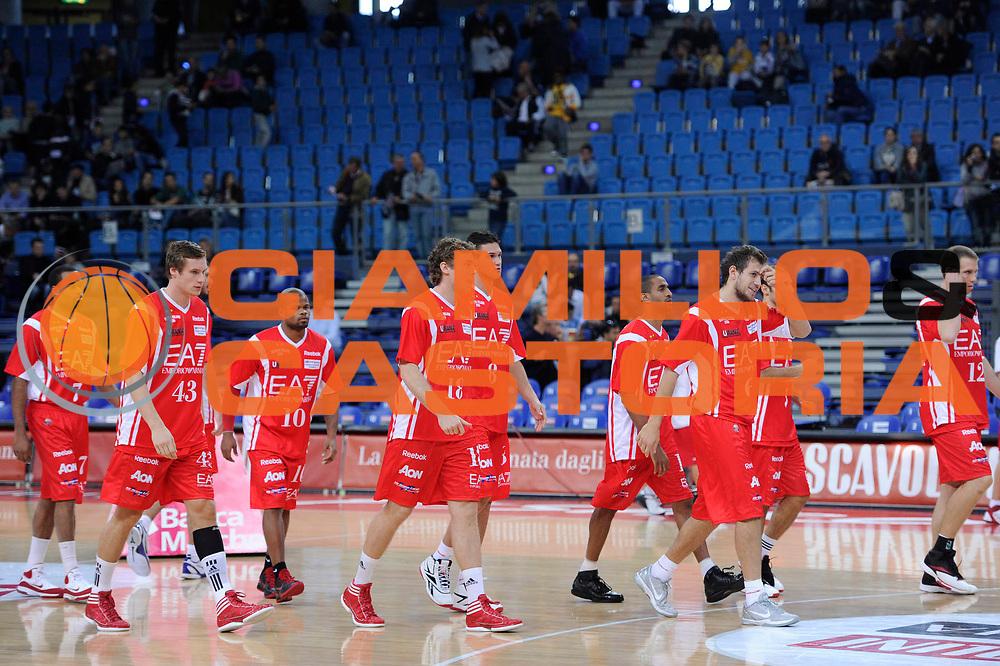 DESCRIZIONE : Pesaro Lega A 2011-12 Scavolini Siviglia Pesaro EA7 Emporio Armani Milano<br /> GIOCATORE : team milano<br /> CATEGORIA : team<br /> SQUADRA : EA7 Emporio Armani Milano<br /> EVENTO : Campionato Lega A 2011-2012<br /> GARA : Scavolini Siviglia Pesaro EA7 Emporio Armani Milano<br /> DATA : 15/10/2011<br /> SPORT : Pallacanestro<br /> AUTORE : Agenzia Ciamillo-Castoria/C.De Massis<br /> Galleria : Lega Basket A 2011-2012<br /> Fotonotizia : Pesaro Lega A 2011-12 Scavolini Siviglia Pesaro EA7 Emporio Armani Milano<br /> Predefinita :