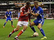 Nottingham Forest forward Apostolos Vellios (39) battles for possession with Birmingham City defender Michael Morrison (28) during the EFL Sky Bet Championship match between Nottingham Forest and Birmingham City at the City Ground, Nottingham, England on 14 October 2016. Photo by Jon Hobley.