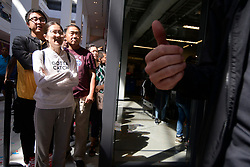 Employees count down to the opening of a Nike retail location on the opening day of the Fashion District Philadelphia shopping destination, September 19, 2019, in Philadelphia, PA. PREIT and Macerich developed the former Gallery Mall at MarketEast into a 420 million Dollar, 800,000-square-foot Center City located mall with up to 130 retail and entertainment spaces.