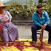 Rukai Headman and his wife prepare traditional ingredients for Millet wine, Sandimen, Pingtung County, Taiwan