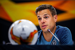 Handout photo provided by UEFA. Chelsea's Cesar Azpilicueta during a press conference at The Olympic Stadium, Baku.