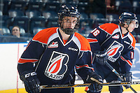 KELOWNA, CANADA - DECEMBER 17: Dawson Davidson #9 of Kamloops Blazers skates during warm up against the Kelowna Rocketson December 27, 2014 at Prospera Place in Kelowna, British Columbia, Canada.  (Photo by Marissa Baecker/Shoot the Breeze)  *** Local Caption *** Dawson Davidson;
