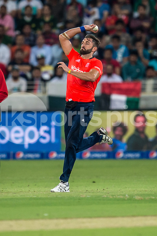 Liam Plunkett of England bowling during the 2nd International T20 Series match between Pakistan and England at Dubai International Cricket Stadium, Dubai, UAE on 27 November 2015. Photo by Grant Winter.