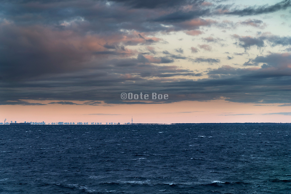 Skytree tower in Tokyo seen from the Tokyo Bay inlet during moring sunrise Japan