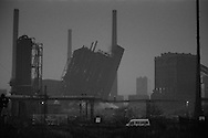 Early morning demolition of the Orgreave coking plant. 16 November 1991<br />