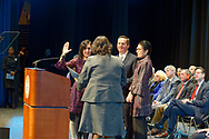 Hempstead, New York, USA. January 1, 2018. Assemblywoman MICHAELLE SOLAGES swears-in SYLVIA CABANA as Hempstead Town Clerk are held at Hofstra University.