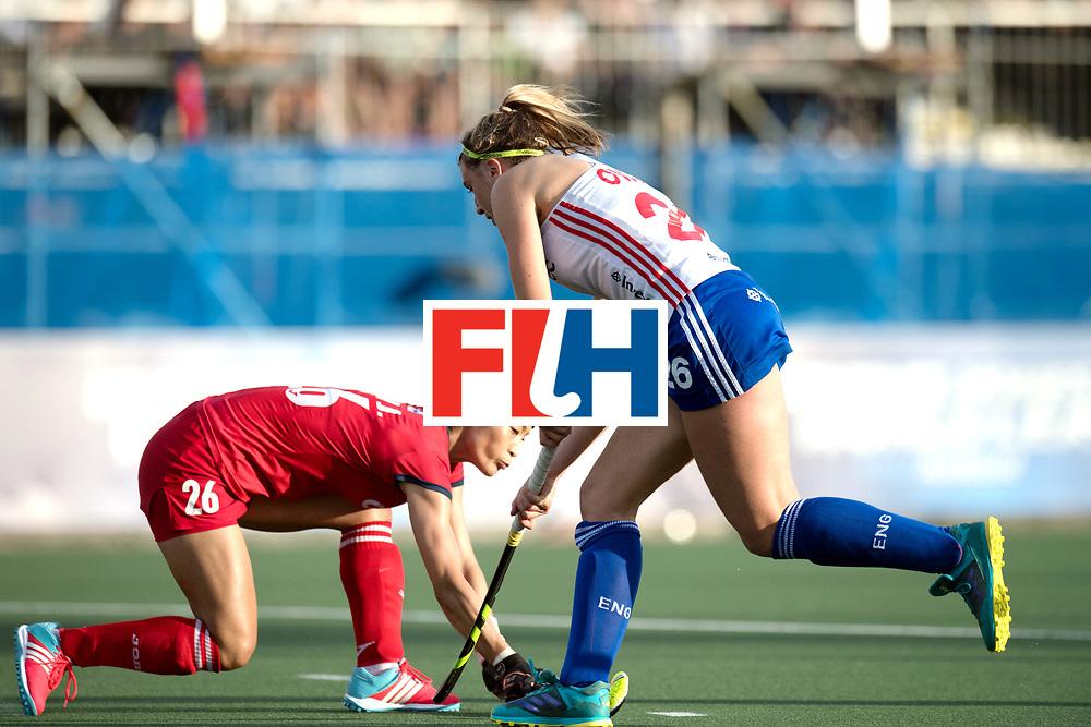 AUCKLAND - Sentinel Hockey World League final women<br /> Match id 10321<br /> Korea v England Bronze 1-0<br /> Korean win Bronz<br /> Foto:  Lily Owsley  stopped.<br /> WORLDSPORTPICS COPYRIGHT FRANK UIJLENBROEK
