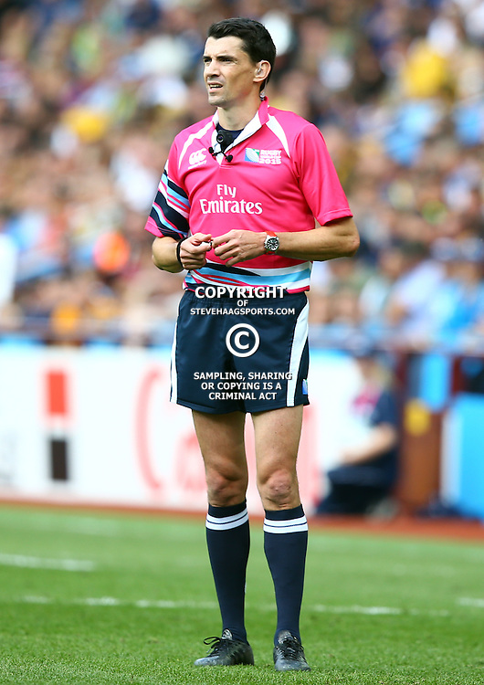 BIRMINGHAM, ENGLAND - SEPTEMBER 27:  Referee:Pascal Gauzere during the Rugby World Cup 2015 Pool A match between Australia and Uruguay at Villa Park on September 27, 2015 in Birmingham, England. (Photo by Steve Haag/Gallo Images)