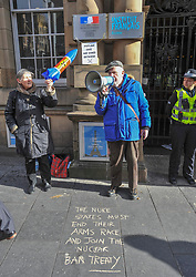 Anti nuclear protesters from Trident Ploughshares Peton Peace Pirates demonstrated outside the French Consulate in Edinburgh on a day of coordinated action involving demonstrations outside embassies and consulates.<br /> <br /> © Dave Johnston/ EEm
