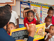 Gary Matthews teaches his Pre-K class at Cook Elementary School, May 9, 2013.