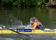 Henley on Thames, England, United Kingdom, 3rd July 2019, Henley Royal Regatta, Heat of the Temple Challenge Trophy,  University of Michigan, USA, cox RA LEWIS, makes the calls as the crew move away from the start,  on Henley Reach, [© Peter SPURRIER/Intersport Image]<br /> <br /> 11:00:06 1919 - 2019, Royal Henley Peace Regatta Centenary,