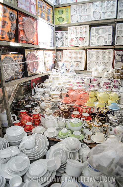Tea sets for sale at Cho Dong Ba, the main city market in Hue, Vietnam.