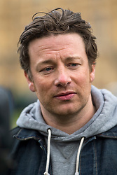 © Licensed to London News Pictures. 16/03/2016. London, UK. Celebrity chef JAMIE OLIVER talking to media Westminster on the day that George Osborne announced a sugar tax in his budget. Photo credit: Ben Cawthra/LNP