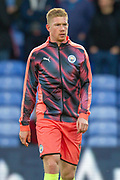 Manchester City midfielder Kevin De Bruyne (17) warming up before the Premier League match between Crystal Palace and Manchester City at Selhurst Park, London, England on 19 October 2019.