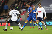 AFC Wimbledon midfielder Liam Trotter (14) passing the ball during the The FA Cup 3rd round match between Tottenham Hotspur and AFC Wimbledon at Wembley Stadium, London, England on 7 January 2018. Photo by Matthew Redman.