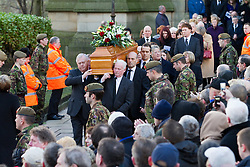 © under license to London News Pictures. 26/1/2011. The coffin  leaving the funeral of Bolton Wonderers and England star, Nat Lofthouse at Bolton Parish Church today (26/01/2011) Nat died at the age of 85. Photo credit should read:Joel Goodman/LNP