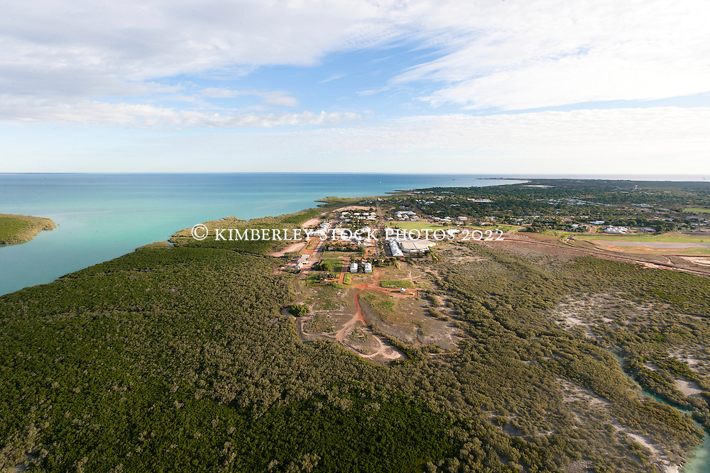 Late afternoon aerial view looking over Broome and Dampier Creek to Roebuck Bay.