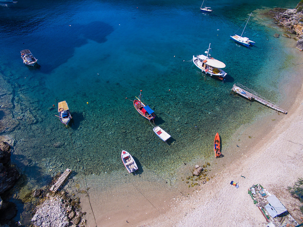 Aerial images of Sarakiniko beach, Ithaca island, Greece