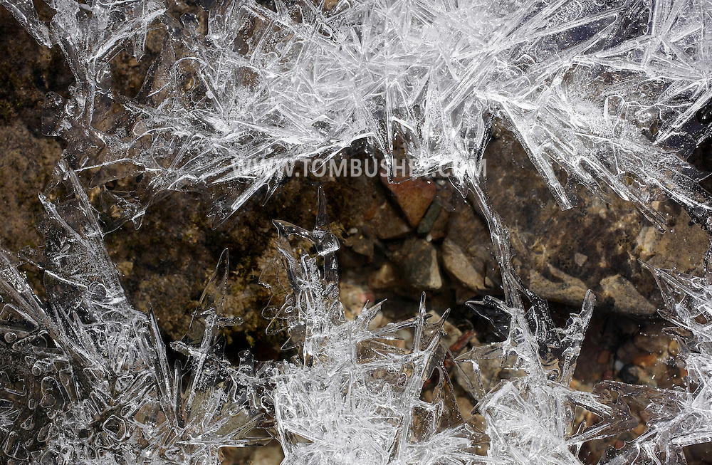Mamakating, New York - Ice crystals above a stream on a cold spring day at the Bashakill Wildlife Management Area on March 26, 2011.