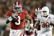7 January 2010:  Alabama running back Trent Richardson (3) scored on a 49 yard touchdown in the 2nd quarter of the 2010 BCS National Championship Game held at the Rose Bowl in Pasadena, CA. .#1 Alabama defeated #2 Texas 37-21..Mandatory Credit: Donald Montague / Southcreek Global