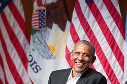 April 24, 2017 - Chicago, Illinois, U.S. - Former President BARACK OBAMA smiles on Monday,  at a discussion with six Chicago-area students at the Logan Center for the Arts on the University of Chicago campus. Obama appeared to deliver the first public remarks of his post-presidency  in his adopted hometown of Chicago.  (Credit Image: © Zbigniew Bzdak/TNS via ZUMA Wire)