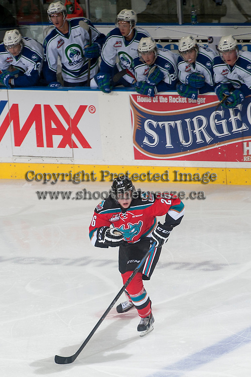 KELOWNA, CANADA - OCTOBER 7:  Cole Linaker #26 of Kelowna Rockets skates against the Swift Current Broncos on October 7, 2014 at Prospera Place in Kelowna, British Columbia, Canada.  (Photo by Marissa Baecker/Getty Images)  *** Local Caption *** Cole Linaker;