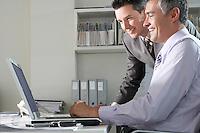 Two businessmen using laptop at office desk