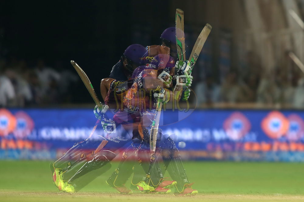 A multiple exposure of Faf du Plessis of Rising Pune Supergiants plays a delivery during match 22 of the Vivo IPL 2016 (Indian Premier League) between the Sunrisers Hyderabad and the Rising Pune Supergiants held at the Rajiv Gandhi Intl. Cricket Stadium, Hyderabad on the 26th April 2016<br /> <br /> Photo by Shaun Roy / IPL/ SPORTZPICS