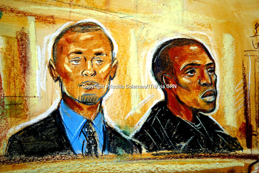 ©PRISCILLA COLEMAN ITN  21.11.05.SUPPLIED BY PHOTONEWS SERVICE LTD.PIC SHOWS: ARTIST IMPRESSION  OF ELLIOT WHITE AND DAMIEN HANSON IN THE DOCK AT THE OLD BAILEY WHERE THEY ARE ON TRIAL FOR THE MURDER OF FINANCIER JOHN MONCKTON AND ATTEMPTED MURDER OF HIS WIFE HOMERYA AT THEIR HOME IN CHELSEA-SEE STORY