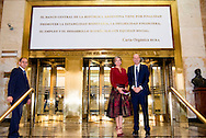 2-10-2016 BUENOS AIRES  - Meeting with President of Central Bank, Mr. Federico Sturzenegge  ,  Queen Maxima visit Argentina in its role of special advocate of the Secretary-General of the United Nations for Inclusive Finance for Development. COPYRIGHT ROBIN UTRECHT NETHERLANDS ONLY Koningin Maxima  bezoek Argentinie in haar functie van speciale pleitbezorger van de secretaris-generaal van de Verenigde Naties voor Inclusieve Financiering voor Ontwikkeling. COPYRIGHT ROBIN UTRECHT NETHERLANDS ONLY
