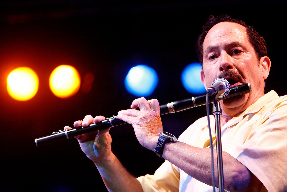 Cuban flautist, Eddie Zervigon plays at International Afro-American Festival in Maracay, Venezuela. June 23, 2008. Zervigon (born July 7, 1940), is a latin musician, best known for instrumental solos with Latin rhythms. (ivan gonzalez)