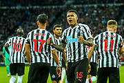 Kenedy (#15) of Newcastle United celebrates Newcastle United's first goal scored by Ayoze Perez (#17) of Newcastle United (1-0) during the Premier League match between Newcastle United and Watford at St. James's Park, Newcastle, England on 3 November 2018.