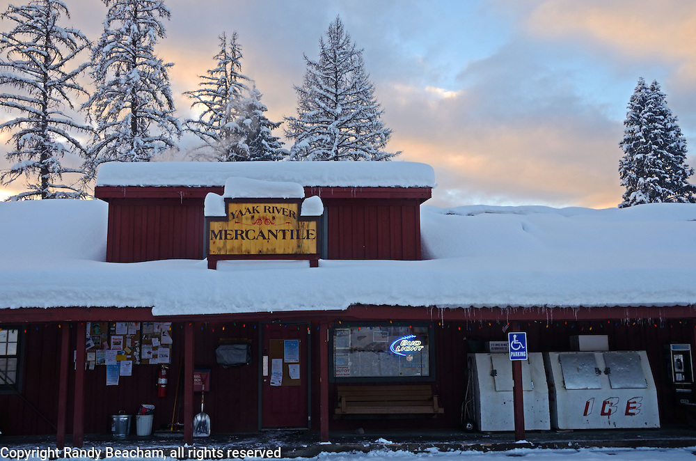 Yaak Mercantile & Tavern during winter of 2016-2017. Yaak, northwest Montana.