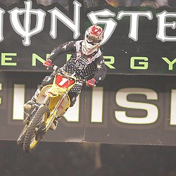 14 March 2009: Chad Reed (1) gains air during the Monster Energy AMA Supercross race at the Louisiana Superdome in New Orleans, Louisiana