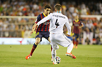 Real Madrid´s Sergio Ramos (R) and F.C. Barcelona´s Bartra during the Spanish Copa del Rey `King´s Cup´ final soccer match between Real Madrid and F.C. Barcelona at Mestalla stadium, in Valencia, Spain. April 16, 2014. (ALTERPHOTOS/Victor Blanco)