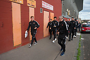 August 9th 2017, Dens Park, Dundee, Scotland; Scottish League Cup Second Round; Dundee versus Dundee United; Dundee United new boy Fraser Fyvie left and team-mates make the short walk from Tannadice to Dens Park