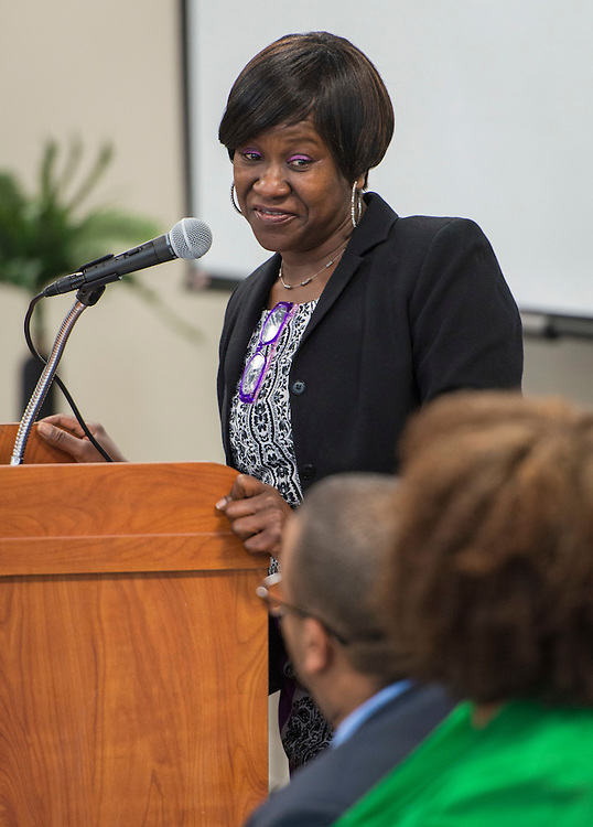 Monique Smith comments during a ribbon cutting ceremony at South Early College High School, October 8, 2016.