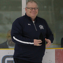 COCHRANE, ON - MAY 2: NOJHL Commissioner Robert Mazzuca gets set to present the player of the game award on May 2, 2019 at Tim Horton Events Centre in Cochrane, Ontario, Canada.<br /> (Photo by Tim Bates / OJHL Images)