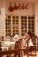 Restaurant La Forge - Paris<br /> <br /> The Chef is Jean-Fran&ccedil;ois le Guillou -<br /> <br /> his daughter relaxing after the last guests have left<br /> <br /> <br /> July 19, 2014<br /> <br /> Photograph by Owen Franken for the NY Times