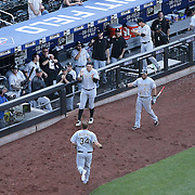 NEW YORK, NEW YORK - June 01:  Matt Albers #34 of the Chicago White Sox heads back to the dugout after scoring what proved to be the winning run during the Chicago White Sox  Vs New York Mets regular season MLB game at Citi Field on June 01, 2016 in New York City. (Photo by Tim Clayton/Corbis via Getty Images)