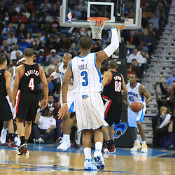 02 February 2009: New Orleans Hornets guard Chris Paul (3) watches his buzzer beating shot at the end of the first half during a 97-89 loss by the New Orleans Hornets to the Portland Trail Blazers at the New Orleans Arena in New Orleans, LA.