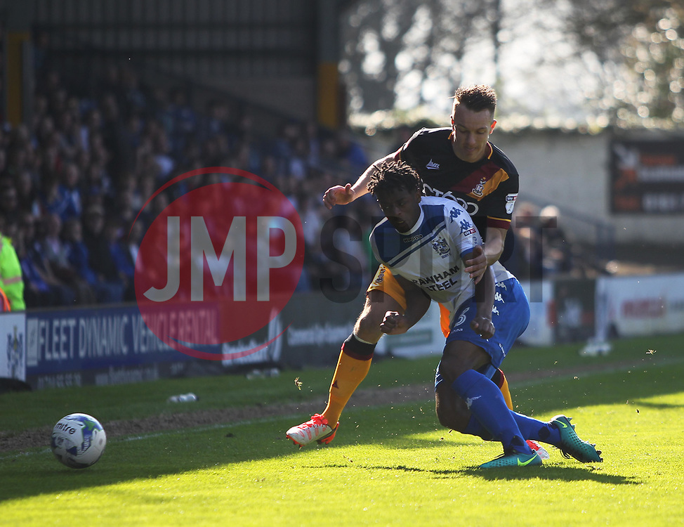 Greg Leigh of Bury (L) and Anthony McMahon of Bradford City in action - Mandatory by-line: Jack Phillips/JMP - 08/04/2017 - FOOTBALL - Gigg Lane - Bury, England - Bury v Bradford City - Football League 1