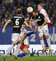 FUSSBALL   1. BUNDESLIGA    SAISON 2012/2013    8. Spieltag   Hamburger SV - VfB Stuttgart            21.10.2012 Vierkampf um den Ball: Die Stuttgarter Georg Niedermeier (li) und Vedad Ibisevic (3.v.l.) gegen die Hamburger Heiko Westermann (2.vl.) und Artjoms Rudnevs (re)